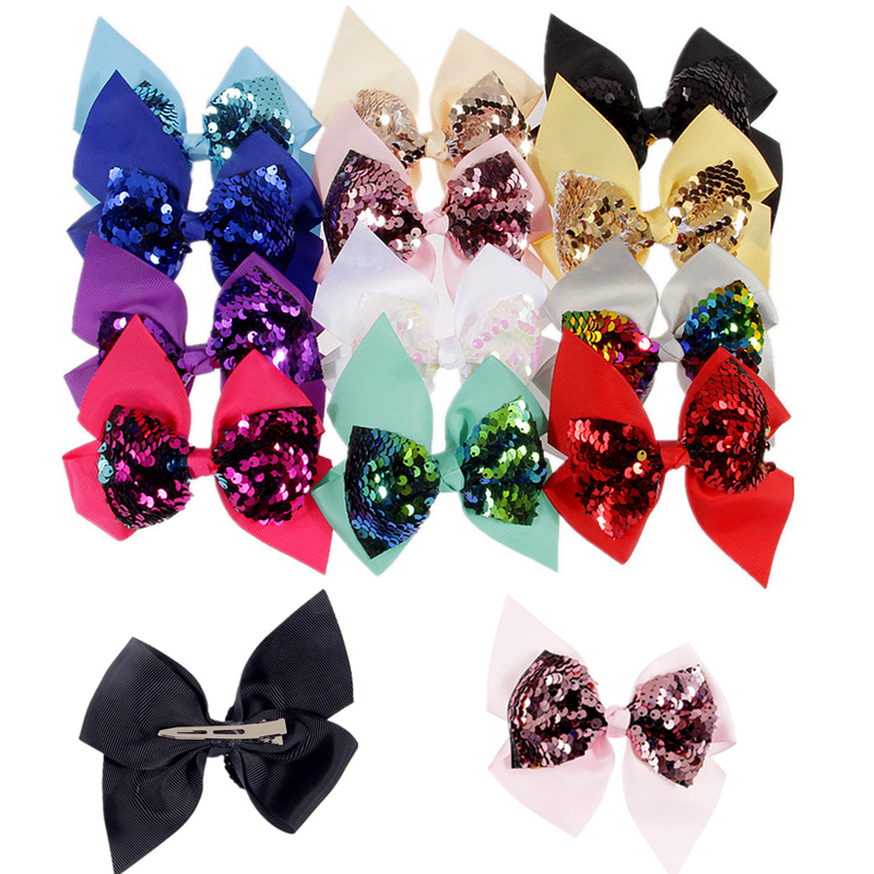 16pcs/lot 4.72 Big Messy Glitter Bows Barrettes Rainbow Grosgrain Ribbon Bowknots Hairpins Boutique Hair Bows For Children