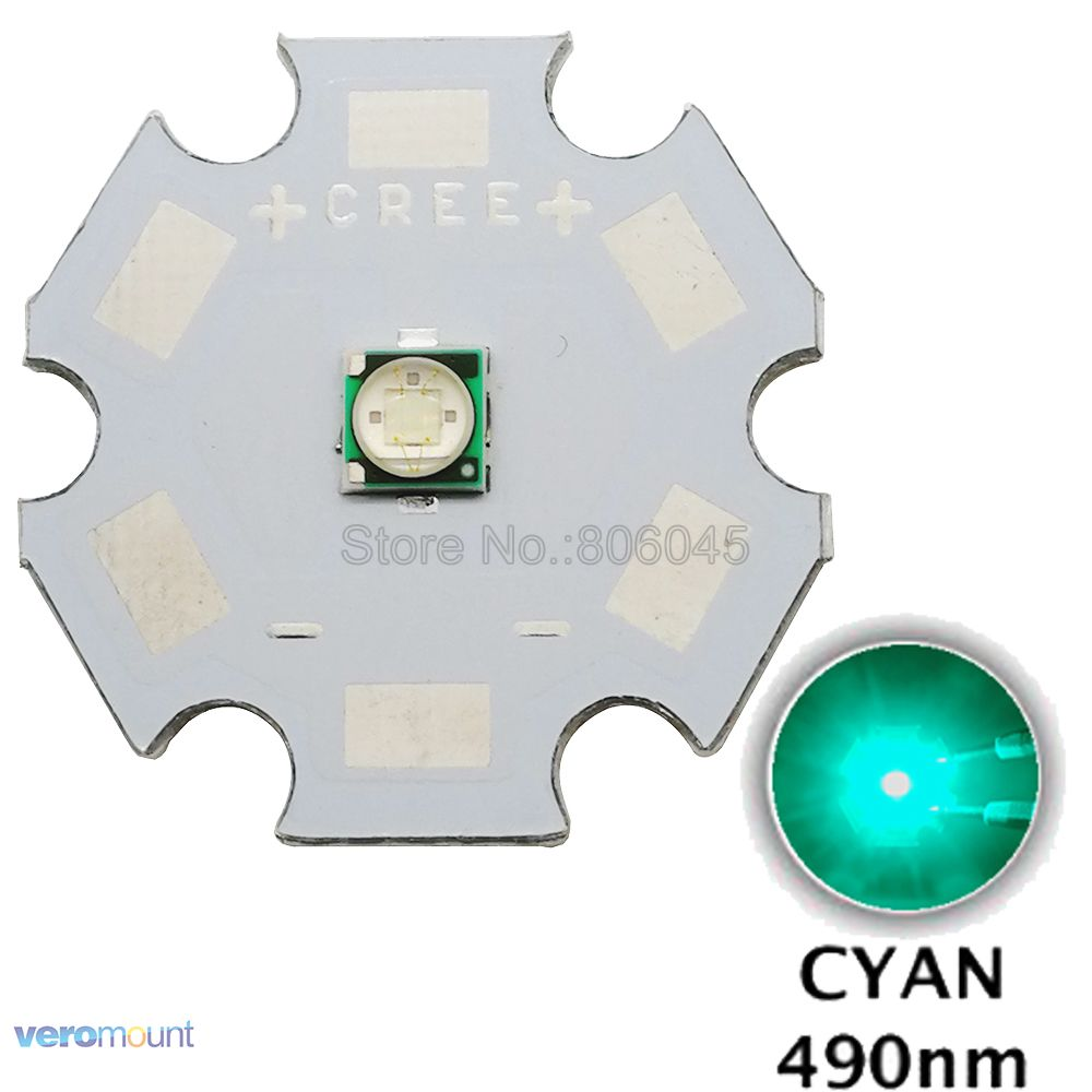 5PCS EPILEDS 3W 3535 Cyan <font><b>490NM</b></font> - 495NM High Power <font><b>LED</b></font> Bead Emitter with 8mm 10mm 12mm 14mm 16mm 20mm Aluminum PCB image