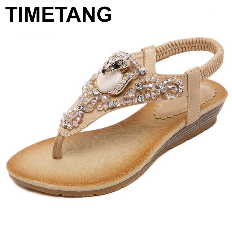 TIMETANG New Fashion Summer Women Sandals Rhinestone Flats With Leisure Beach Women Shoes  C057 pink vietnam sandals flats female summer outdoor leisure shoes