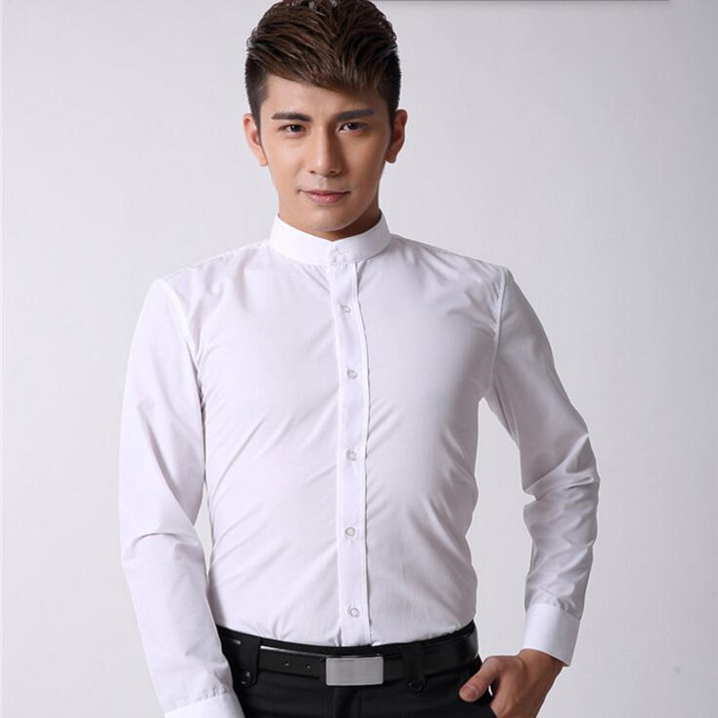 Chinese style men shirt mandarin collar business shirt for Dinner shirts slim fit