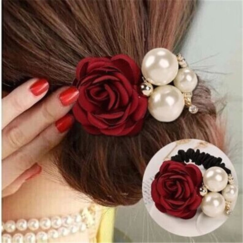 Ruiyi Women Elastic Hair Bands Big Flower Hair Rope Rhinestone Imitation Pearls Charms Rubber Band Headwear  Hair Accessories metting joura vintage bohemian ethnic tribal flower print stone handmade elastic headband hair band design hair accessories