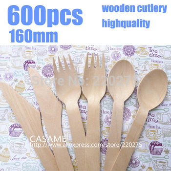 160mm 900pcs disposable cutlery Wooden Cutlery Set Picnic Cutlery Wedding disposable wooden party cutlery Wooden forks фото