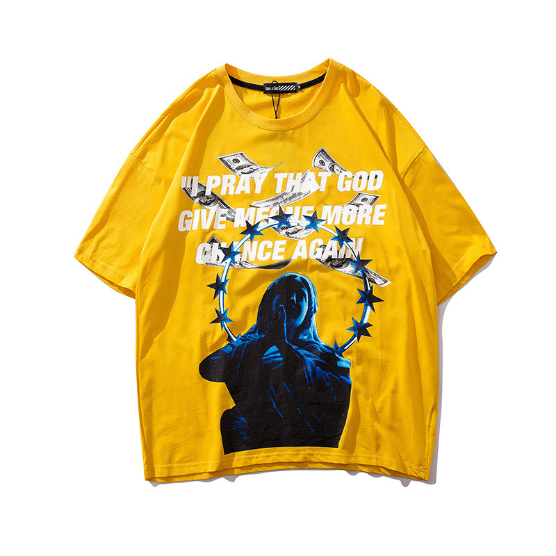 Image 4 - Men tshirts US Dollar Reflective Strip Maria Print Hip Hop T shirts Men Streetwear 2019 Fashion Summer Spring Tops Tees HS76-in T-Shirts from Men's Clothing