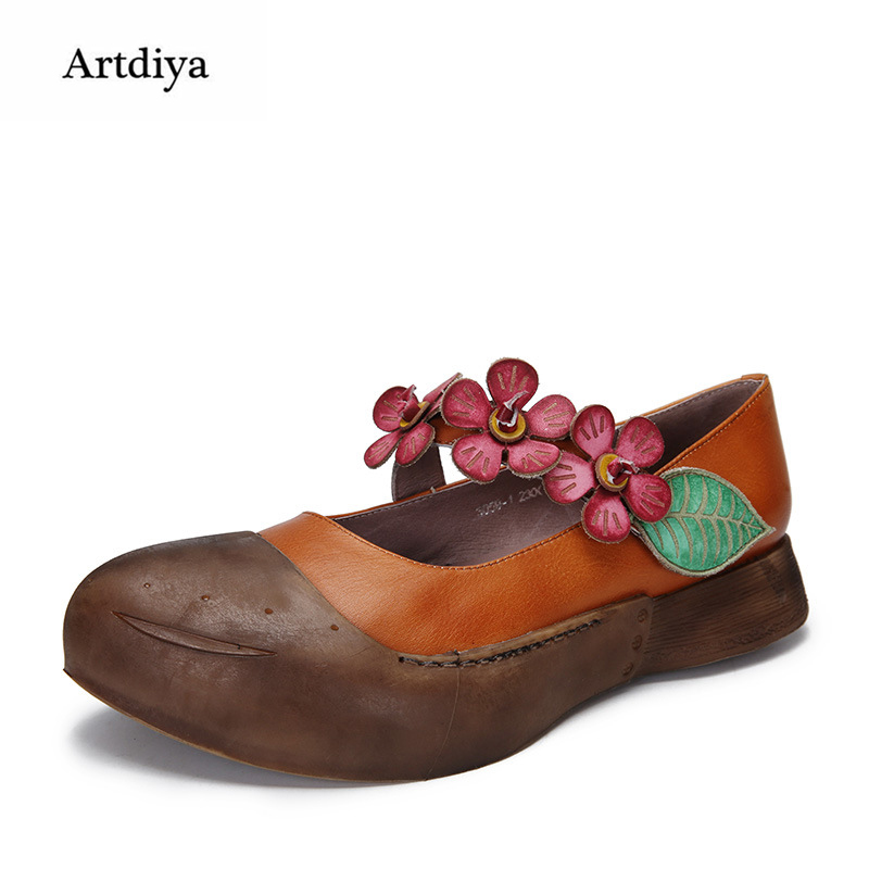 Artdiya 2018 Spring New Pointed Toe Thick Soles Women Shoes Retro Genuine Leather Flowers Shallow Mouth Handmade Shoes 3059-1 перчатки sophie ramage перчатки