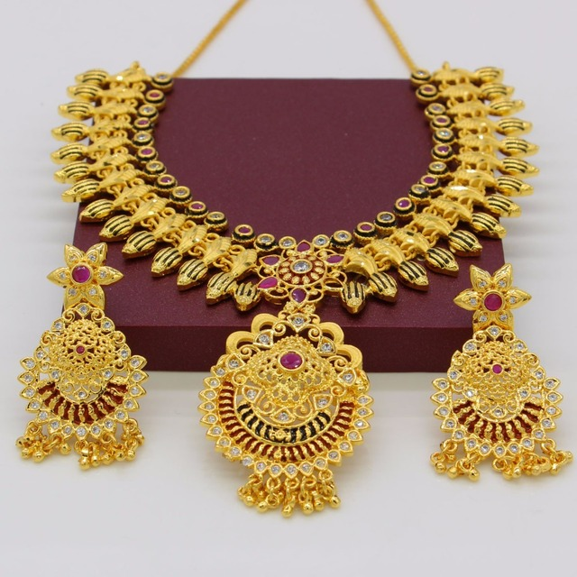 Adixyn African Red Corundum Necklace/ Drop Earrings Jewelry Set For Women Gold Color Cubic Zirconia Ethiopian Arabic India Items