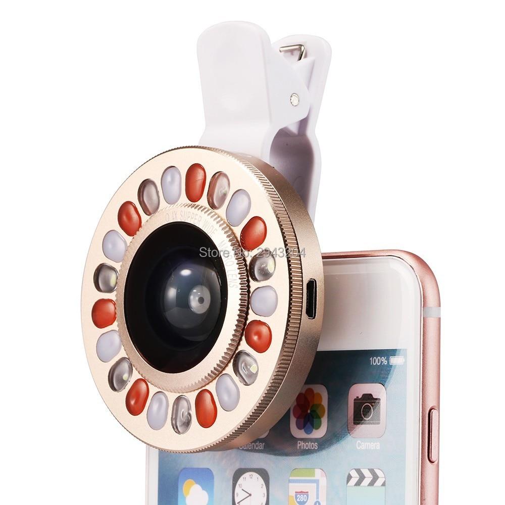 LED Selfie Flash Свет Объектив 4 Файлов Затемнения Телефон Объектив с широкий Угол Камеры Объектив + Макро-Объектив для iPhone Samsung Смартфон