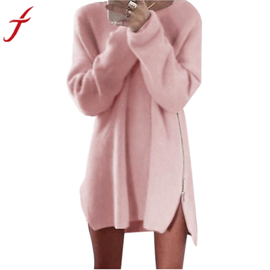 Autumn Winter Women Dress Long Sleeve Side Zip Knitted Cardigans Baggy Tops Sale Sexy Party Bodycon Sweater Dresses hopebird letter leather brand gorros knitted cap baggy beanie winter female pompon women hat skullies autumn bonnet femme cap