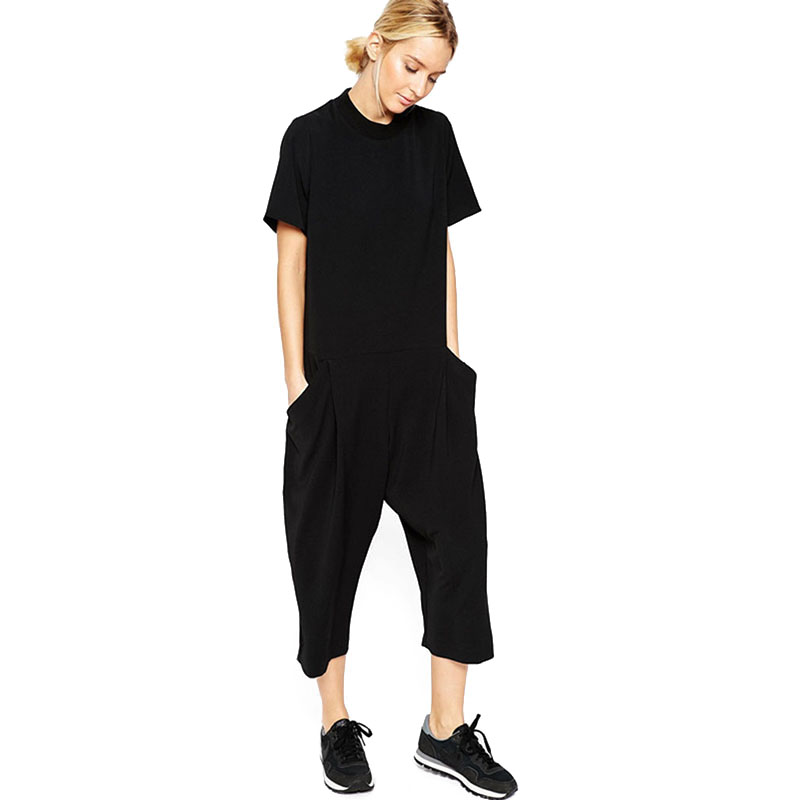 Black Rompers Womens Jumpsuit Seven Big Jumpsuit Side Pocket Loose-Fitting Body Jumpsuits Romper Overalls For Women Mono