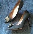 Бренд-же женщин конструкции острым носом сияющий алмаз высокий каблук женский элегантность ну вечеринку свадьба обуви маленький большой размер 3.5 - 10 7