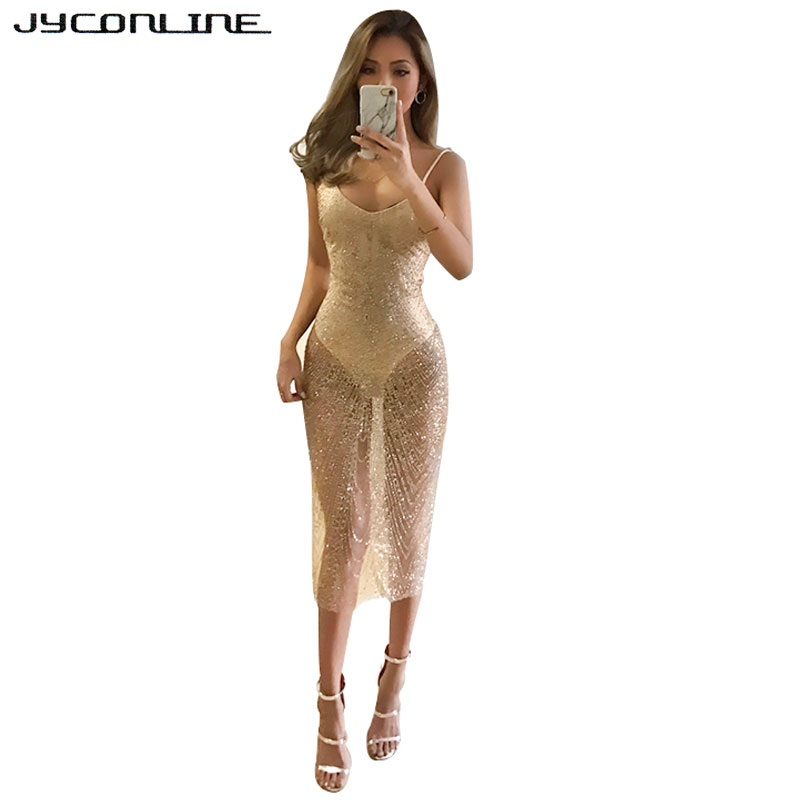 588d9a6654 JYConline Deep V Neck Sexy Gold Sequin Dress Women Backless Bodycon Evening  Party Dresses Sleeveless Strap Off Shoulder Dress-in Dresses from Women s  ...