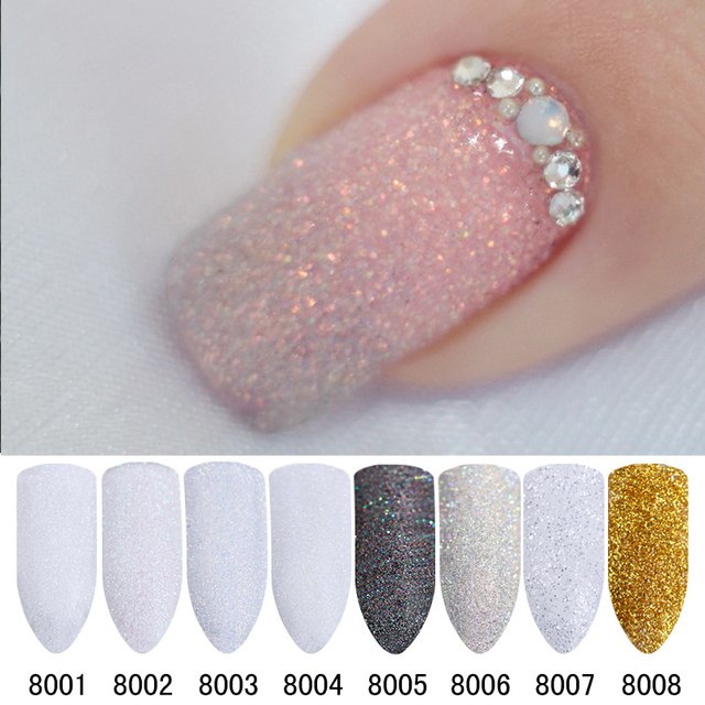 8Pcs Holographic Nail Glitter Set Powder Shining Sugar Glitter Dust ...