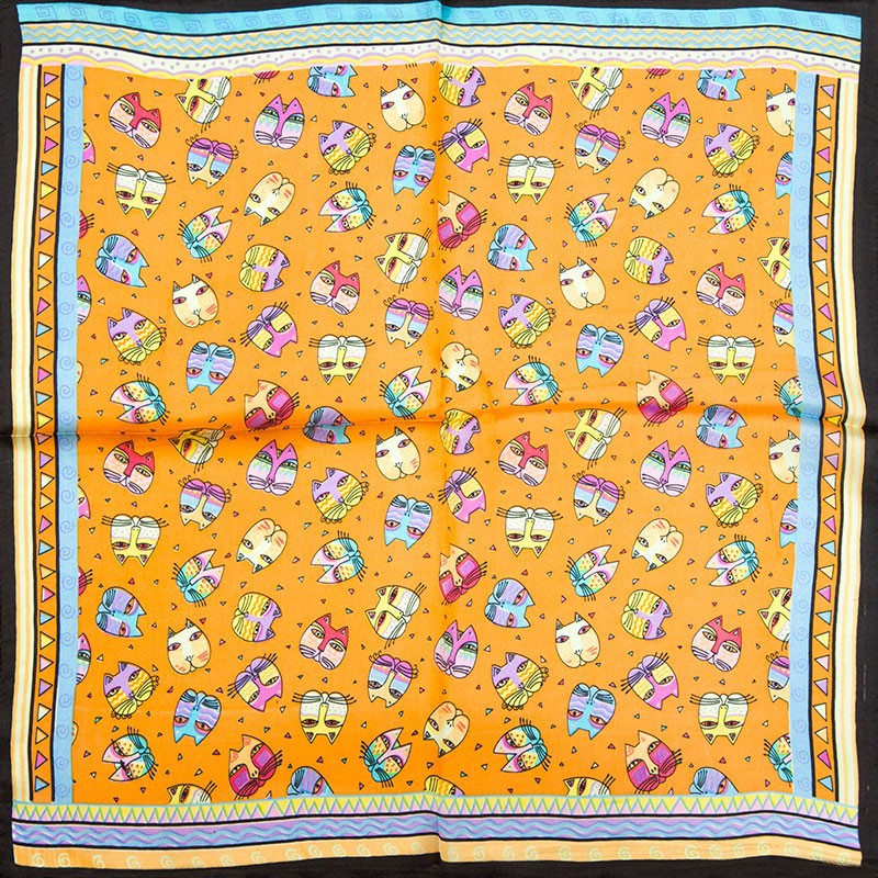 Cat Design 100% Silk Scarves Various Designs