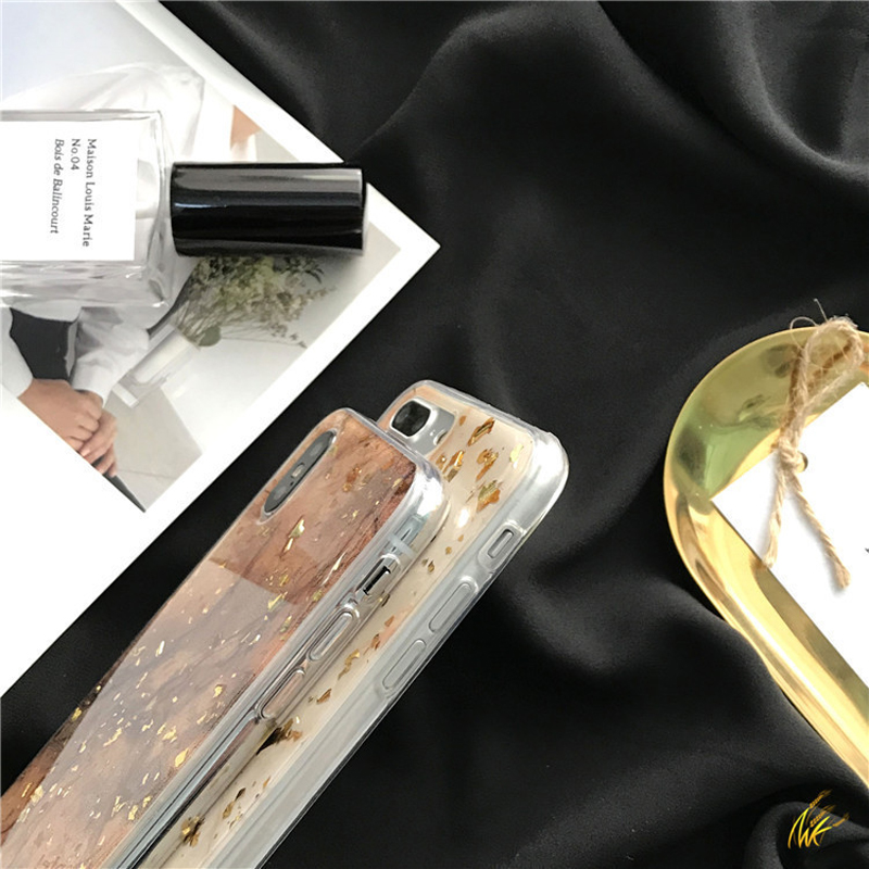 New Luxury Gold Foil Gold Sequined Marble Case For iPhone 8 7 6 Plus 6S Plus Soft TPU Case For iPhone X XS Max XR Glitter Cas in Fitted Cases from Cellphones Telecommunications