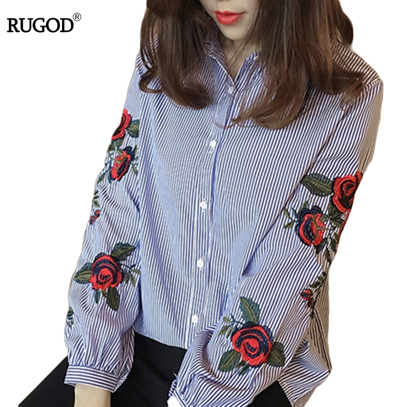 Blouses & Shirts Spring Autumn Embroidery Flowers Thin Blouse Women Ruffled Collar Slim Shirts Floral Casual Single Breasted Chiffon Tops