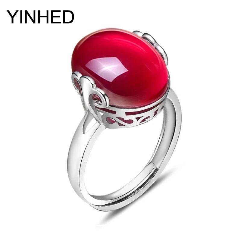 90% sleva! YINHED 925 Sterling Silver Ring Natural Oval Red Corundum Snubní prsten otevírací prsteny pro ženy Módní šperky ZR5011