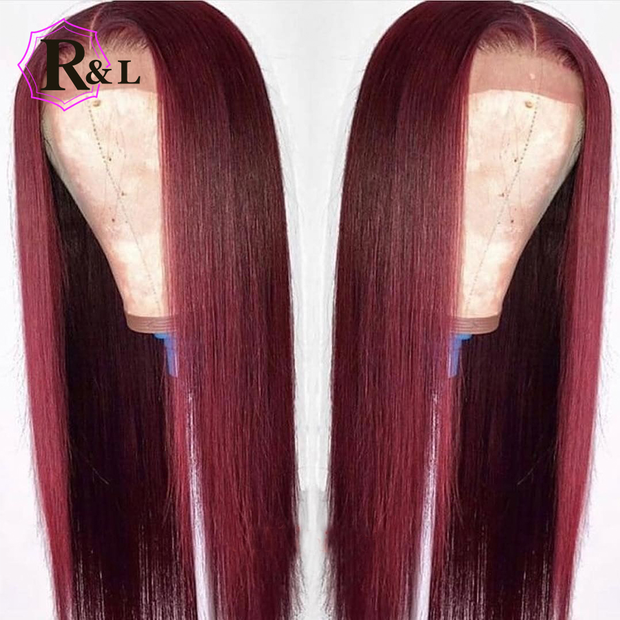 RULINDA 99J Colored Lace Front Human Hair Wigs Pre Plucked Pure Colored Straight Brazilian Remy Hair