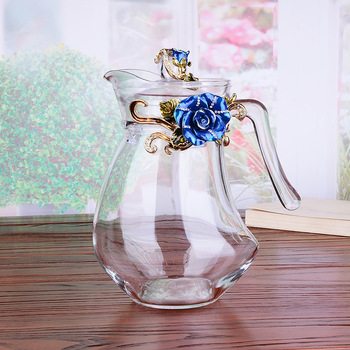 1300ML high grade enamel coloured kettle cold kettle glass high temperature and explosion proof European household large cap
