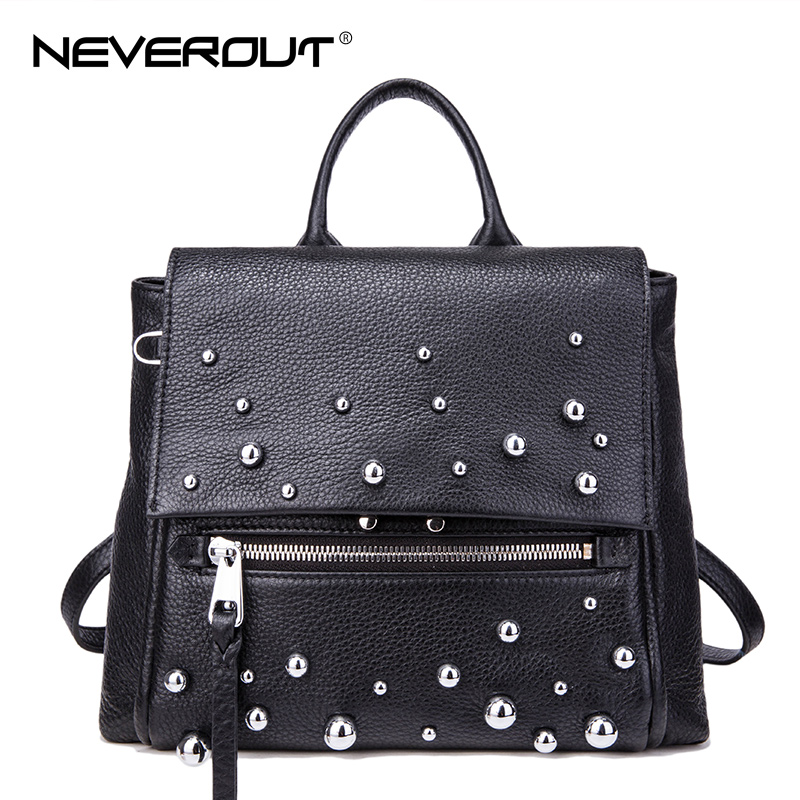 цена на NeverOut Water Droplets Design Backpacks Genuine Leather Backpack for Women High Quality Solid Travel School Bag & Shoulder Bags