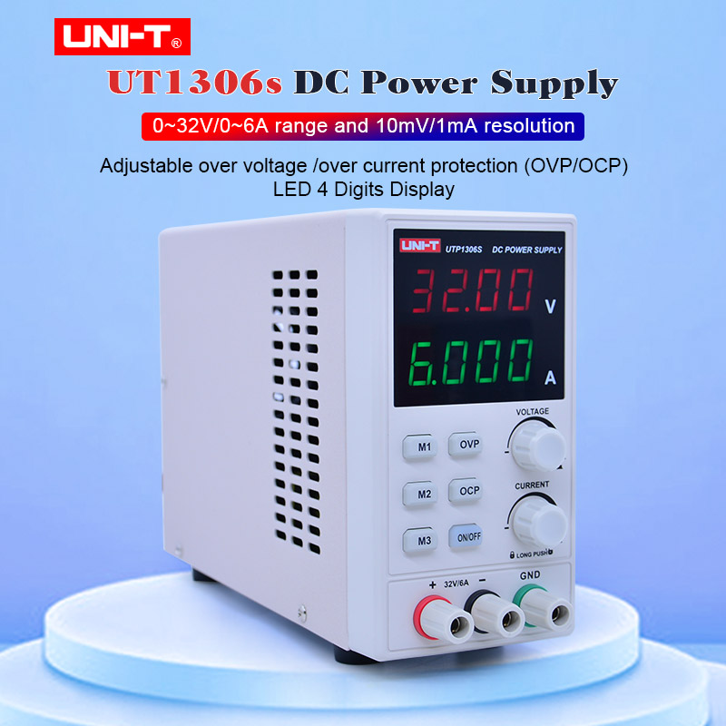 UNI T UTP1306S DC Power Supply Variable 32V/6A Adjustable Switching Regulated Power Supply Digital with Crocodile clip 220V 50Hz Voltage Meters     - title=