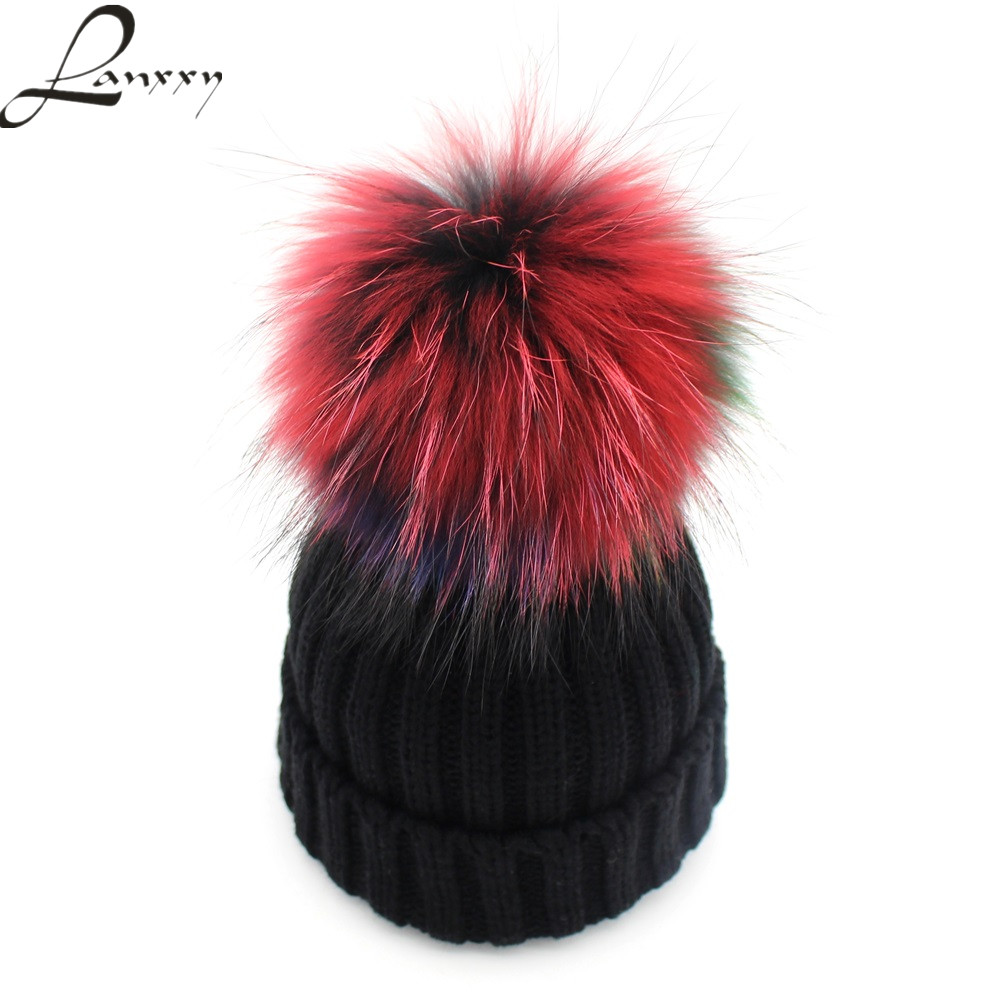 Lanxxy Hot Real Mink Fur Pompom Hat Wanita Winter Beanies Skullies Bonnet Caps Wanita Pom Poms Topi Cute Gorro Cap