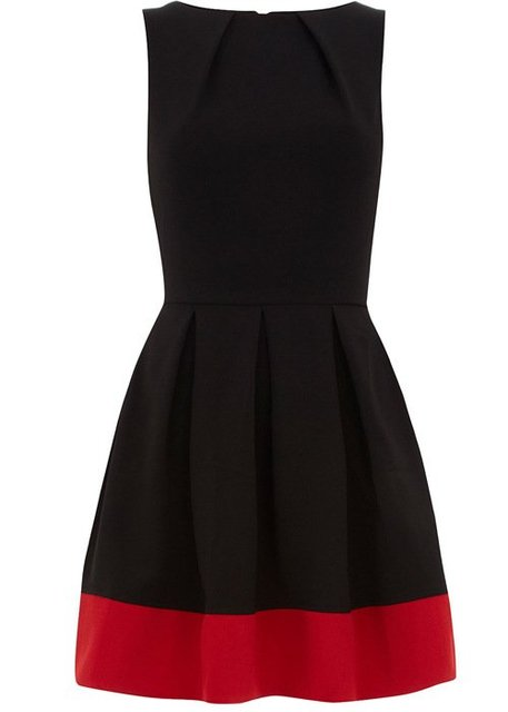 Vintage Color Block Dress Knee-length O-neck Tank Sleeveless Red Casual Dresses Party Pleated Flare Bud Skirt Little Black Dress