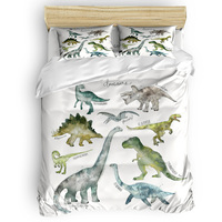 Illustration Carton Dinosaurs Duvet Cover Set Prehistoric Animals Collection 3/4pcs Bedding Set Bed Sheet Pillowcases Cover Set