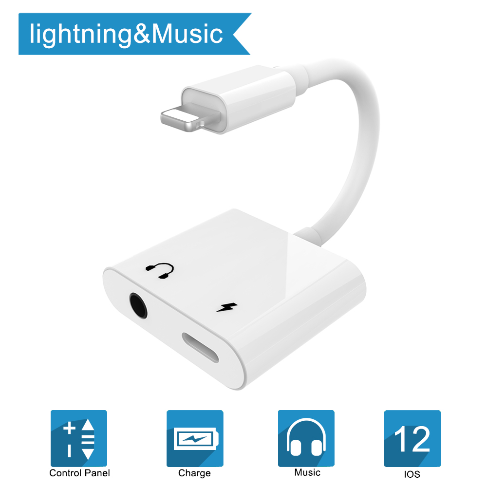 все цены на 2 in 1 Audio Charging Converter for Lightning to 3.5mm Headphone Jack Charger For iPhone Xs XR X 8 7 6 plus support iOS 9.2-12