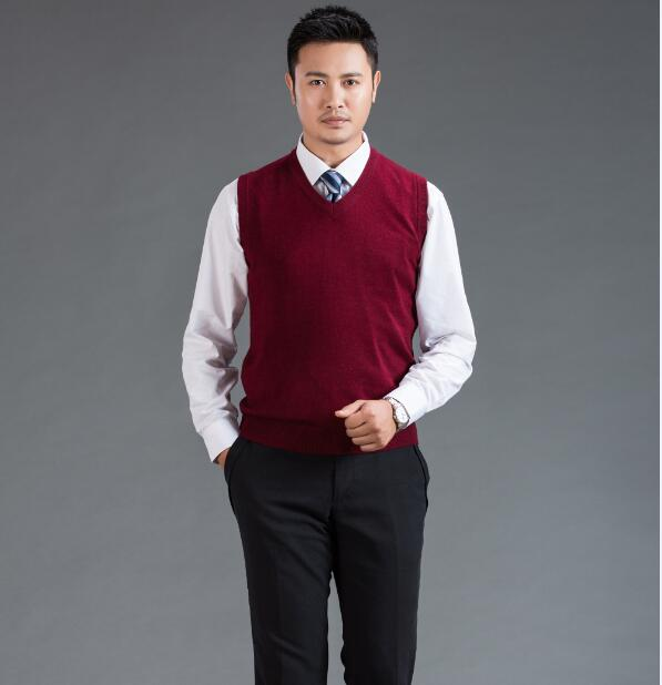 High Quality Mens V-Neck Wool Sweater Vest  2016 Autumn Men Casual Solid Color Sleeveless Cashmere Sweater