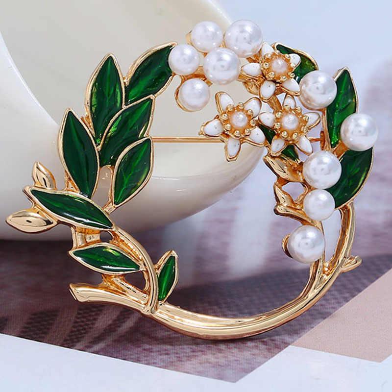 CKW Boho แฟชั่นสีเขียว Leaf Pearl ผ้าพันคอ Pearl เข็มกลัดผู้หญิง Simple Diamate พวงหรีดผ้าไหมผ้าพันคอ PIN หมุดโลหะสำหรับเสื้อผ้า