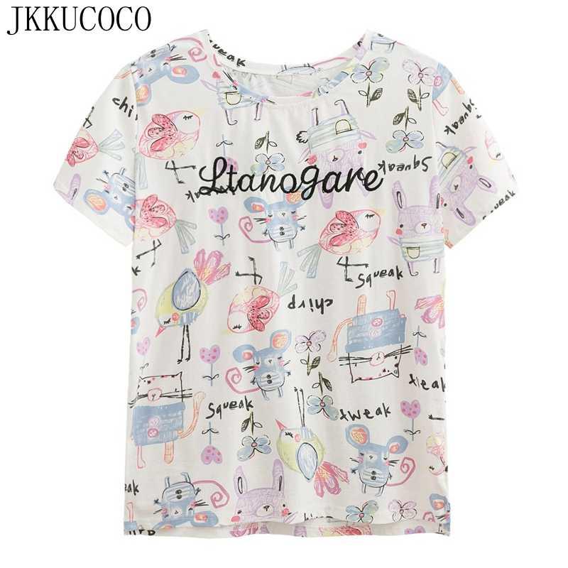 Jkkucoco мультфильм кролик с принтом птиц футболки короткий рукав Футболка  Для женщин топы с нашитыми буквами 794ad62afd97e