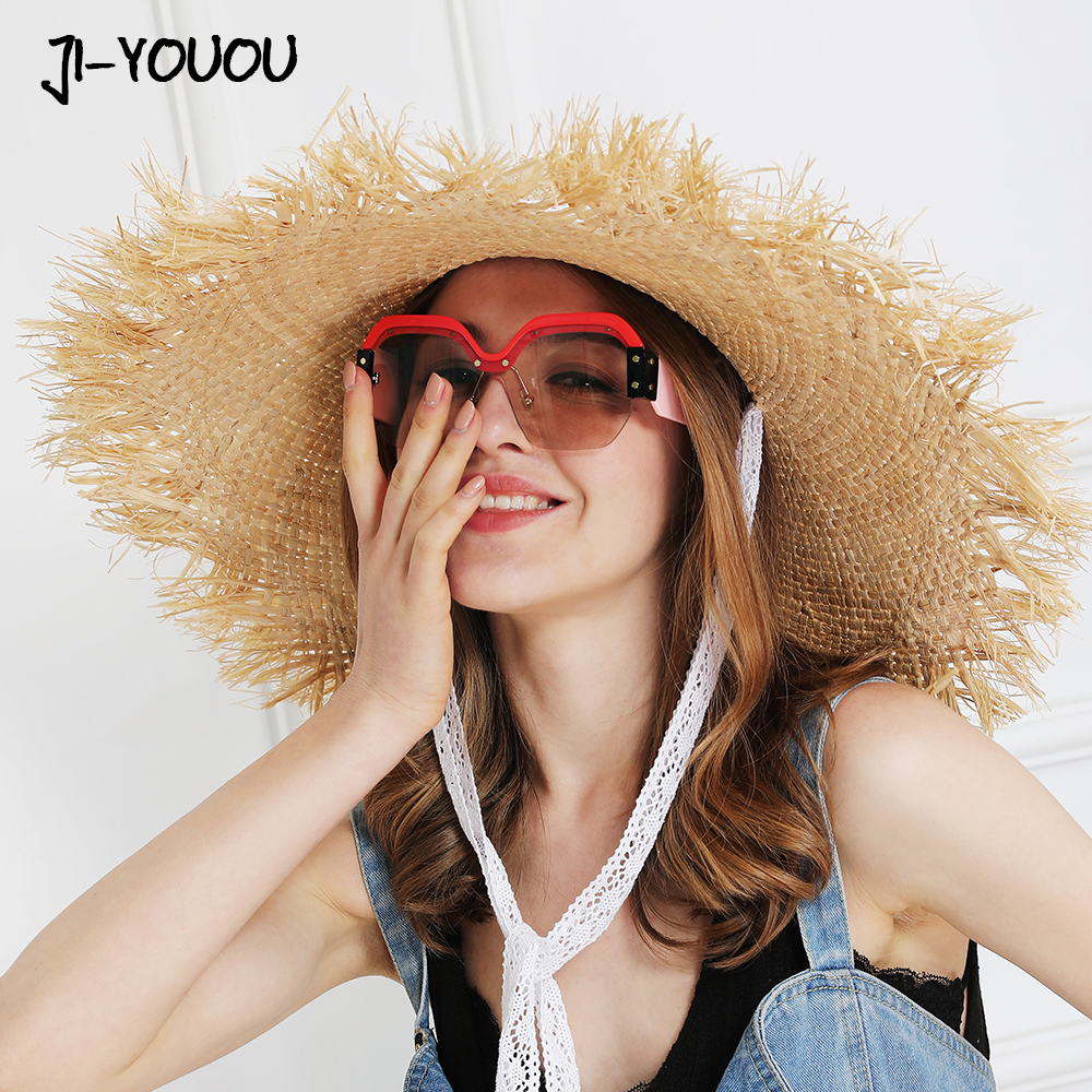 JIYOUOU Lace strap straw hat bow wide grass female summer cap beach visor outdoor holiday beach sun protection hat Collapsible(China)