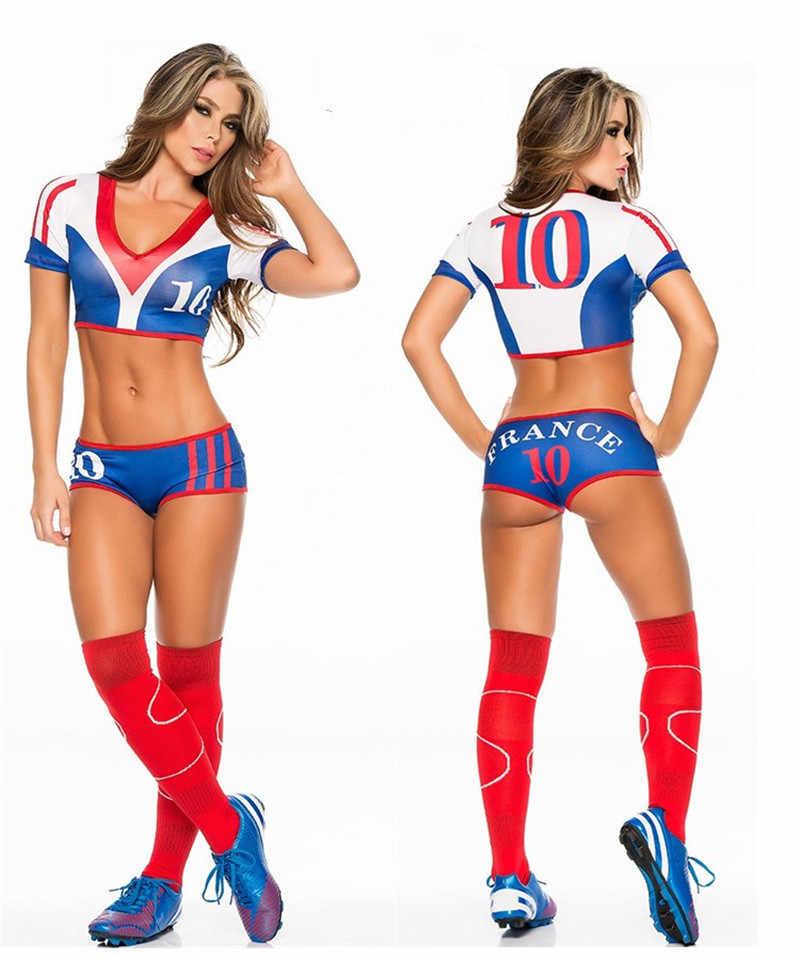 2018 Футбольная форма для чирлидинга для женщин, набор команды поддержки, костюм для футбола, детские, футбол, шорты для девочек, топы, спорт
