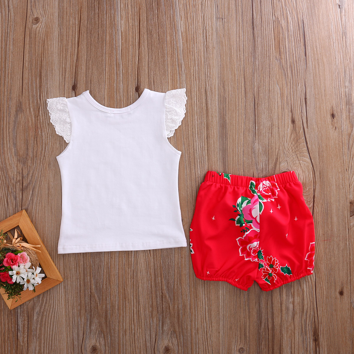 Toddler Baby Girls Lace TOP ANS RED SHORTS Floral KIDS GIRL SETS ...