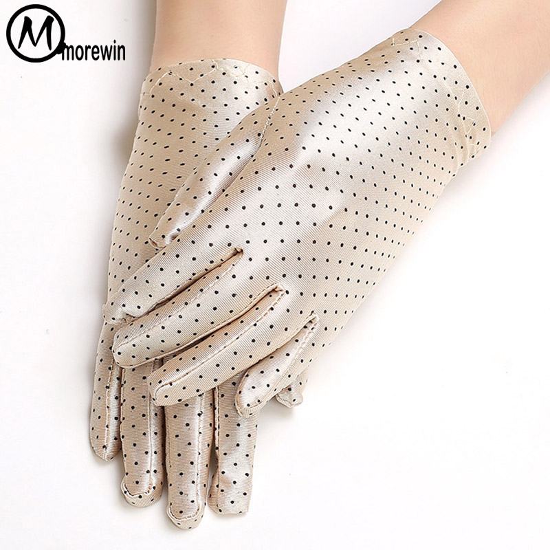 Morewin Fashion New Dot Summer Women Driving Gloves Elegent Ladies Driving Mittens Thin Formal Female Summer Gloves Thin Mittens