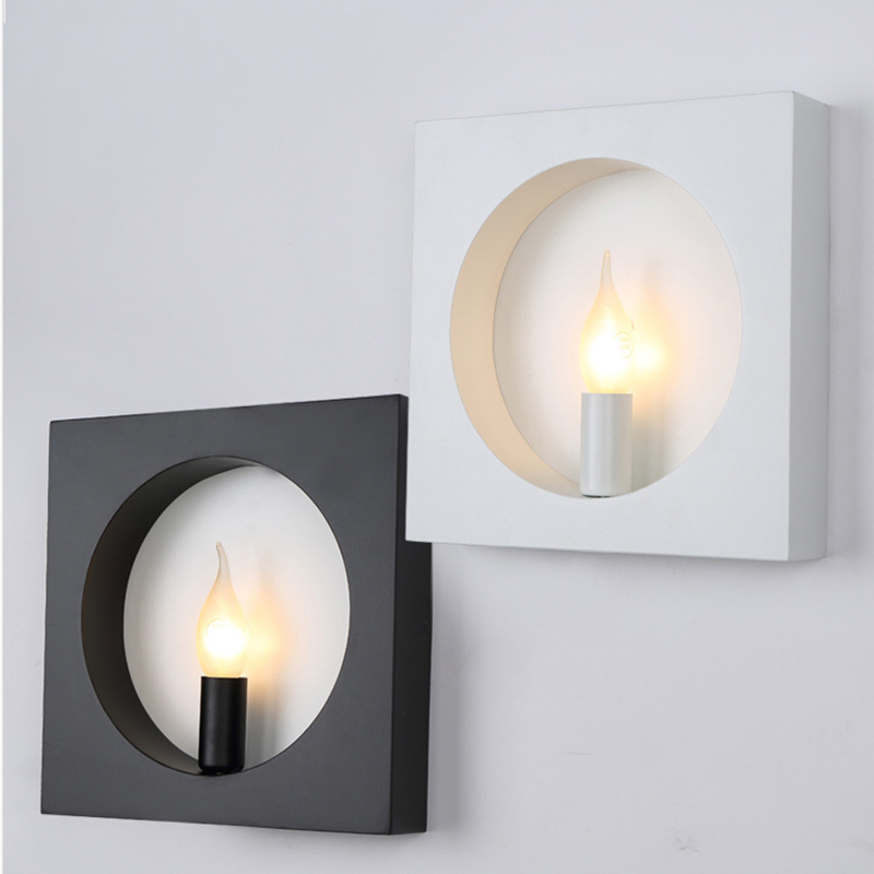 modern wall mounted light for living room foyer bed room dining lamps Sconce fixtures square indoor lighting wall lamp modern white iron foyer bed room wall lamp dining doom light e27 v110 v240 free shipping