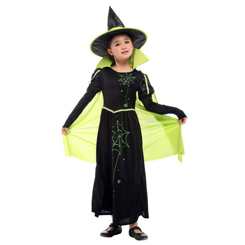 Umorden Kids Wicked Witch Costume for Girls Wizard Of Oz 75th Anniversary Edition Green Cape Halloween Carnival Dress Up