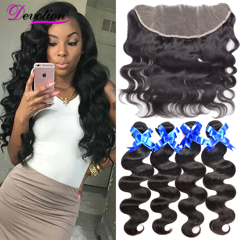 Mink Brazilian Virgin font b Hair b font Body Wave With Closure Lace Frontal Closure With