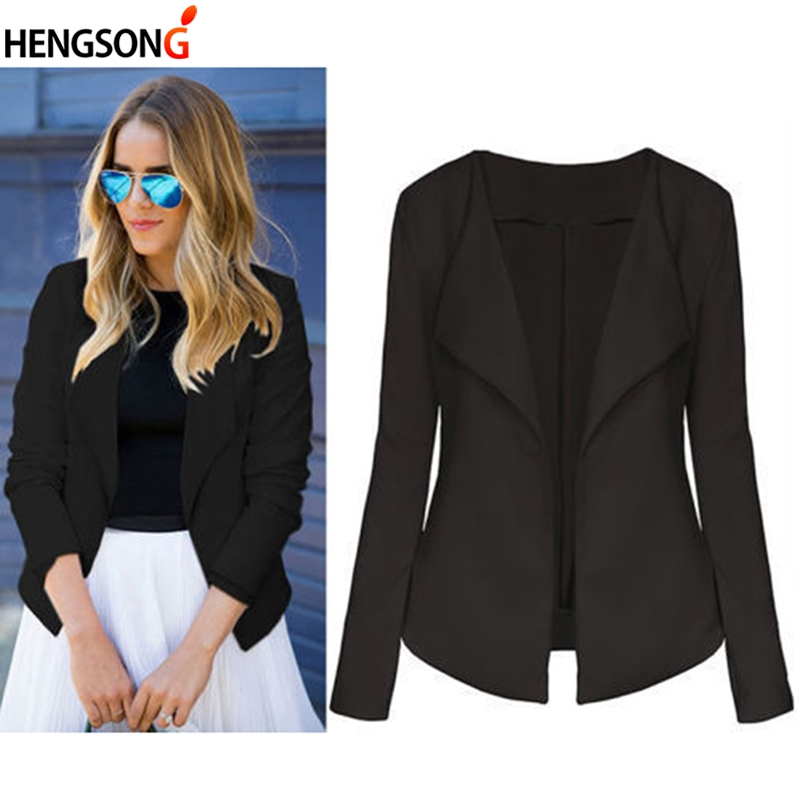 Black Office Blazer Jacket Female Casual Slim Elegant Women Suit Coat V Neck Sexy Chic Set Blazer Women Cardigan Top