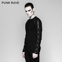 PUNK RAVE Gothic Cotton Inner Heavy Metal O Neck Personality Long Sleeve Men T shirt Steampunk Iron Motorcycle Casual Street Top