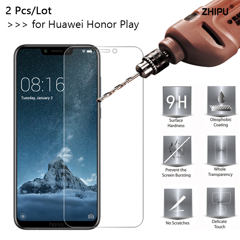 "2 Pcs/lot 2.5D 0.26Mm Tempered Glass For Huawei Honor Play Honorplay 6.3"" Display Protector Protecting Movie For Huawei Honor Play"