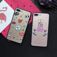 New High Quality Cute Heart Lip Lipstick Crown Eyes Phone Cases For IPhone 7 7 Plus