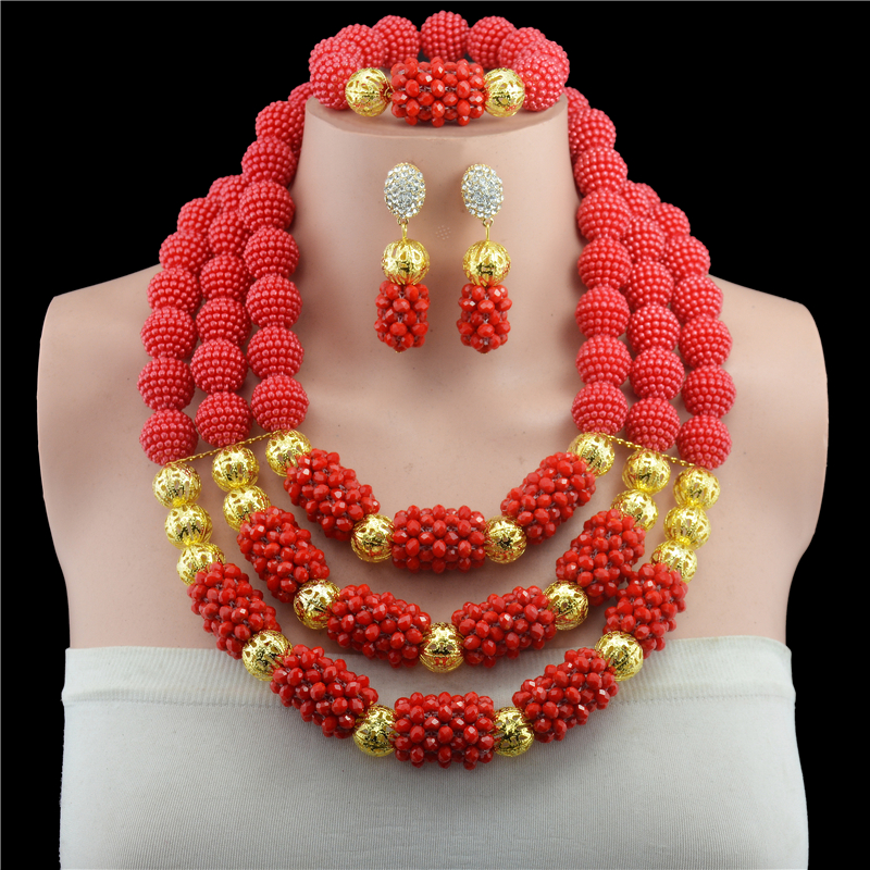 Fashionable Real Red Crystal African Beads Jewelry Sets Brides Red Costume Jewellery Set For Women Hot Sale ...