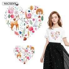 Nicediy Cartoon Animals Heart patch Iron on Transfer for Clothes Heat Transfer Vinyl Sticker For Kids Patches Applique Badge DIY цена