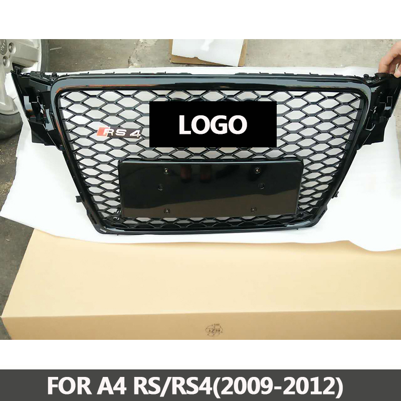 B8 Grill RS4-Styling A4 ABS Black Painted Front Honey Mesh Grille for Audi A4 S4 RS4 B8 Sedan / Coupe / Convertible 2009-2012 17pcs error free led bulb for audi a4 s4 rs4 b8 quattro sedan interior dome map light kit license plate lamp 2009 2015