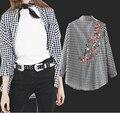 Ravi Cidade 2017 de moda de nova malha bordado longo-sleeved camisa das mulheres