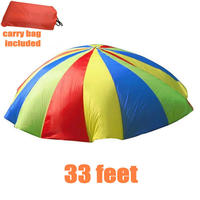 Huge 33feet Rainbow Parachute with 48 handles, 10meters Multi Color Design Parachute Tent Toys For 60 70person, Outdoor Game