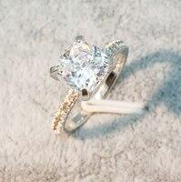 Потерять деньги Большая распродажа! 100% Оригинальные 925 пробы Серебряное кольцо Топ 5A циркония SONA камень Обручение обручальное кольцо для Дл