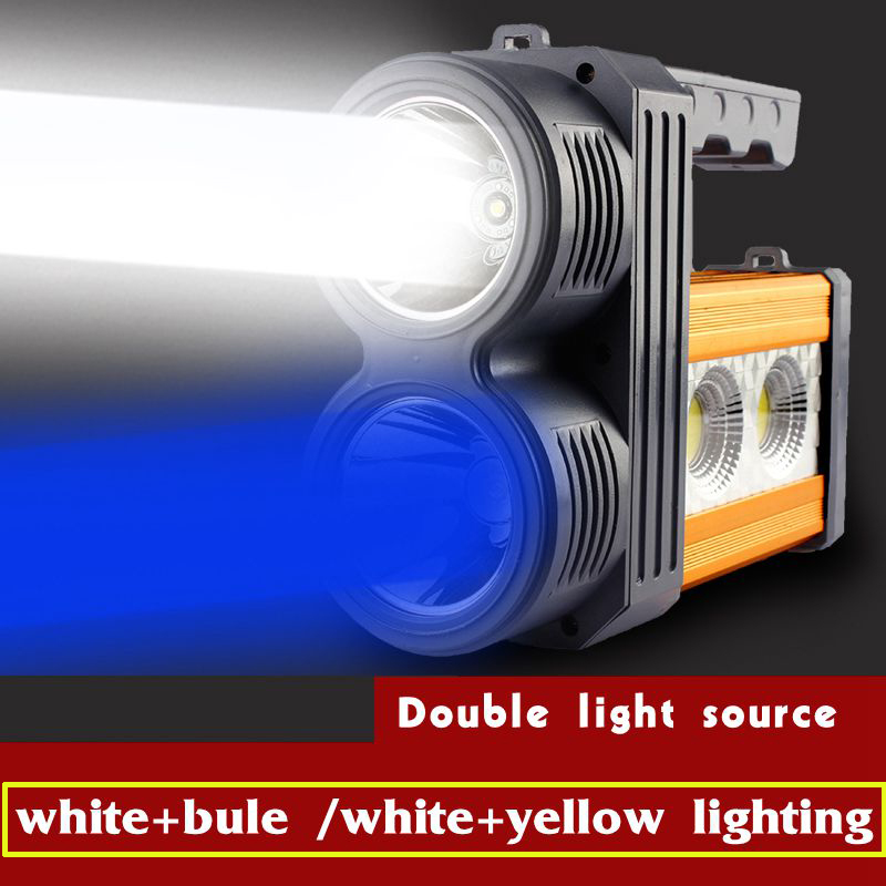 New arrival night fishing led lamp light flashlight charging built -in lithium battery double light source searchlight