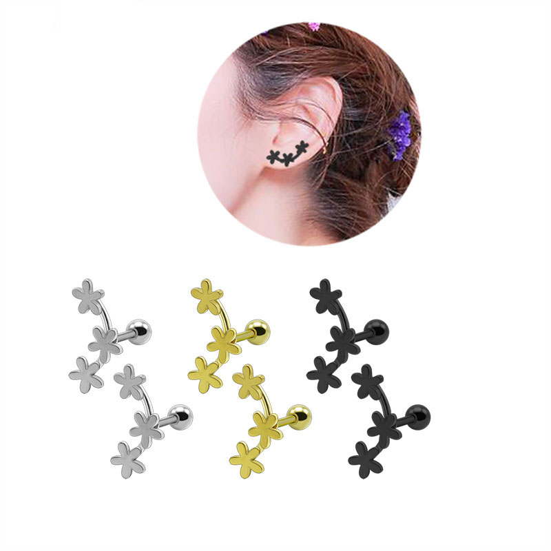 2PCS Fashion Flower Cartilage Earrings Titanium Stainless Steel Silver Gold Black Helix Brincos Pendientes Body Piercing Jewelry4