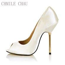 цена на New Women Pumps High Heels Sexy CD Party & Evening Big Sizes Satin Shallow Peep Toe Thin Iron Heel Lady Heeled Shoes 3845-a5